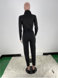 Casual Striped Long Sleeve Zipper 2 Piece Suits ARM-8237