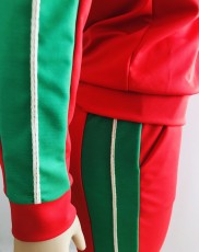 Fashion Casual Splice Zipper Long Sleeve And Pants Two Piece Set WUM-818
