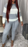 Casual Sweater Two-color Splice Long Sleeve Pants Two Piece Set ANNF-6013