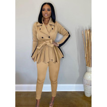 Elegant Full Sleeve Belted Coat+Pants 2 Piece Sets SFY-192