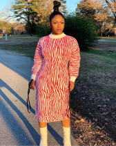 Plus Size Casual Printed Long Sleeve Midi Dress DAI-8292