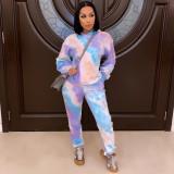 Tie Dye Casual Printed Hoodies Pants 2 Piece Sets MIL-184