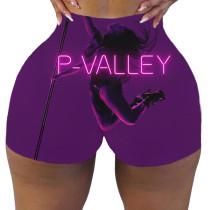 Plus Size Sexy P-VALLEY Letter Print Bodycon Shorts SHD-9441
