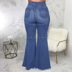 Plus Size 5XL Sexy Fashion Ripped Hole Slim Mid Waist Denim Flared Pants HSF-2352