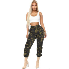 Camo Print Casual Belted Cargo Pants LSD-8247