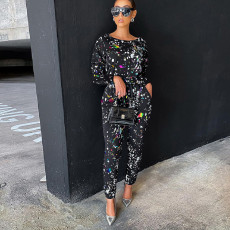 Sexy Splash Ink Print Top And Pants Two Piece Set SZF-6048