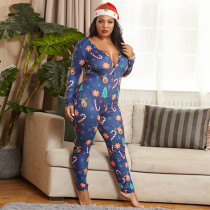 Plus Size Christmas Print Skinny Sexy Buttons Jumpsuit OSIF-20887-1