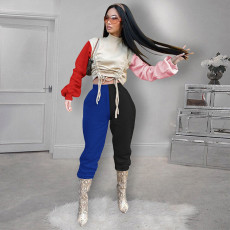 Fashion Splice Lace-Up Top And Pants Two Piece Set SZF-6051