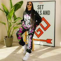 Printed Casual Fashion Hooded Sweatshirt Two Piece Set SZF-6053