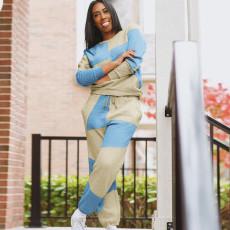 Splice Sweatshirts Casual Fashion Two Piece Set SZF-6045