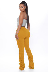 Casual Solid Hole Stacked Pants LX-6139