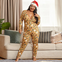 Plus Size 5XL Printed Tight Sexy Christmas Jumpsuit OSIF-20883-1