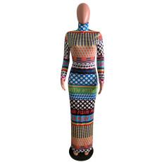 Sexy Printed Long Sleeve Split Maxi Dress AWYF-L678