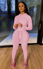 Casual Solid Hoodies Ruched Pants Two Piece Sets MA-395