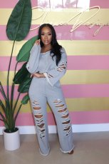Solid Loose Hole Long Sleeve Two Piece Pants Set LX-6150