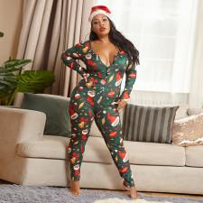 Plus Size 5XL Tight Long Sleeve Christmas Jumpsuit OSIF-20881-1