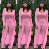 Solid Ribbed Tank Top+Long Cloak+Pants 3 Piece Sets YF-9294