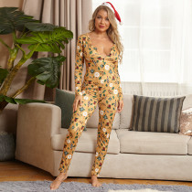Printed Tight Sexy Christmas Jumpsuit OSIF-20883