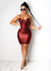 Sexy High Waist PU Leater Straps Mini Club Dress LX-2002