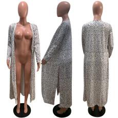 Leopard Print Full Sleeve Split Long Cloak Coat AWYF-L680
