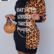 Casual Letter Leopard Print Long Sleeve Dress SZF-6050