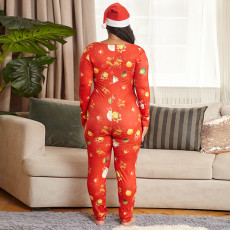 Plus Size 5XL Red Christmas Sexy Tight Printed Jumpsuit OSIF-20888-1