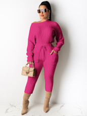 Solid Ribbed Long Sleeve Two Piece Suits MA-389