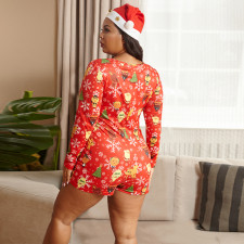 Plus Size Printed Tight Sexy Christmas Rompers OSIF-20880-1