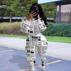 Newspaper Print Long Sleeve 2 Piece Pants Set MEM-8312