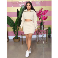 Casual Teddy Plush Long Sleeve Mini Skirt 2 Piece Sets ASL-6315