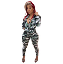 Camouflage Print Jacket And Pants Two Piece Set YJF-8333
