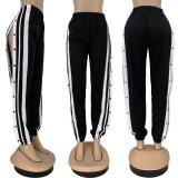 Casual Sports High Split Buttons Long Pants FNN-8556