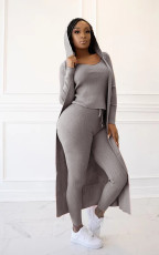Solid Tank Top+Hooded Long Cloak+Pants 3 Piece Sets TR-1089
