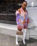Tie Dye Off Shoulder Notched Collar Blazer Coat MOF-5191