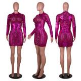 Sexy Hole Hollow Long Sleeve Mini Club Dress PN-6633
