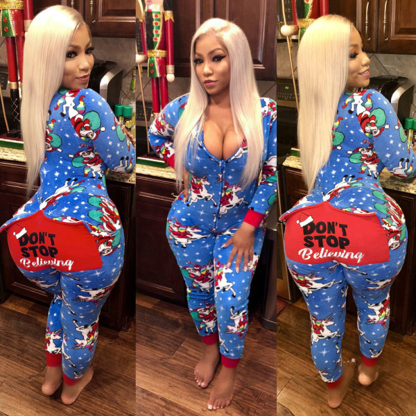 Christmas Printed Long Sleeve One Piece Jumpsuit IV-5011-1