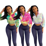 Casual Tie Dye Crop Tops And Pants 2 Piece Sets MOF-5192
