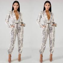 Trendy Snake Print Long Sleeve Pants Two Piece Set YJF-8330