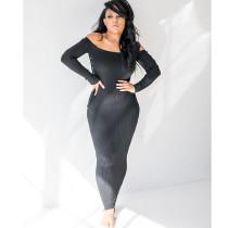 Sexy Solid Color Rib Long Sleeve Slim Maxi Dress YJF-8319