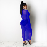 Sexy Shiny Low Cut Mesh Maxi Club Dress Without Panties TE-4150