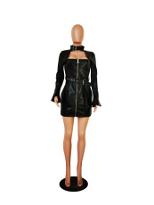 Sexy PU Leather Long Sleeve Mini Dress TR-1087