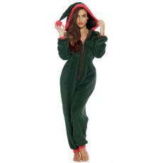 Christmas Fur Plush Hooded Long Sleeve Jumpsuit SNF-5011