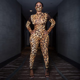 Sexy Leopard Mesh Patchwork Jumpsuit Without Mask YD-8320