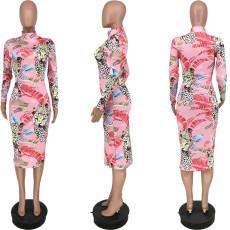 Fashion Sexy Print Long Sleeve Midi Dress YJF-8363