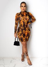 Sexy Mesh Printed Long Sleeves Mini Dress ML-7396