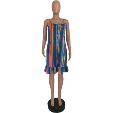 Plus Size Summer Casual Striped Sling Rompers YJF-8348