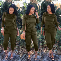 Solid Ruffled Long Sleeve Two Piece Pants Set LSL-6045