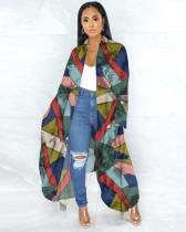 Fashion Printed Irregular Long Cloak Coat ANNF-6019