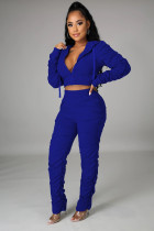 Plus Size Solid Color Ruched Short Hoodie And Pants Two Piece Set CQ-089