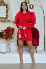 Solid Hooded Long Sleeve Mesh Patchwork Mini Dress XMY-9272